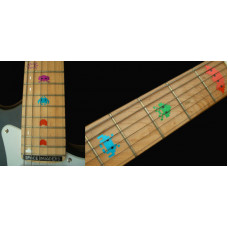 Fret marker decals for Guitar - Space Invaders in Colour - JIS-86